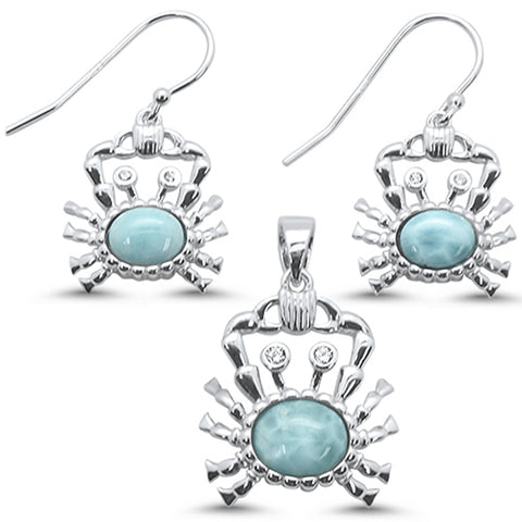 Natural Larimar Crab .925 Sterling Silver Earring & Pendant Set