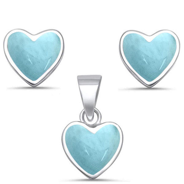 Natural Larimar Heart Shape Earring & Pendant .925 Sterling Silver Set