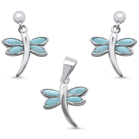 Natural Larimar .925 Sterling Silver Earring & Pendant Set