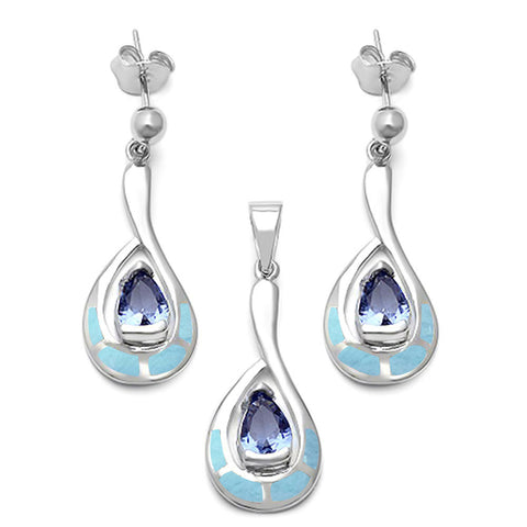 Natural Larimar & Tanzanite .925 Sterling Silver Earring & Pendant Set