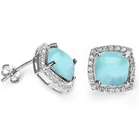 Cushion Cut Natural Larimar & Cz .925 Sterling Silver Earrings