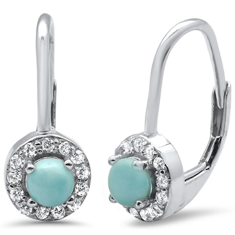 Halo Natural Larimar & CZ .925 Sterling Silver Earrings