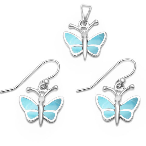 Natural Larimar Butterfly .925 Sterling Silver Pendant & Earrings Set