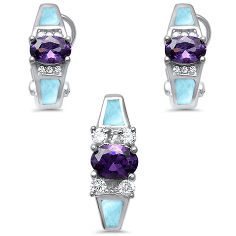 Natural Larimar, Amethyst & Cz Earring & Pendant .925 Sterling Silver Set