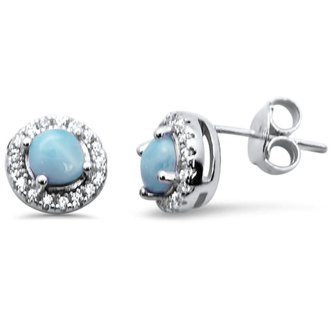 Halo Round Natural Larimar .925 Sterling Silver Earrings