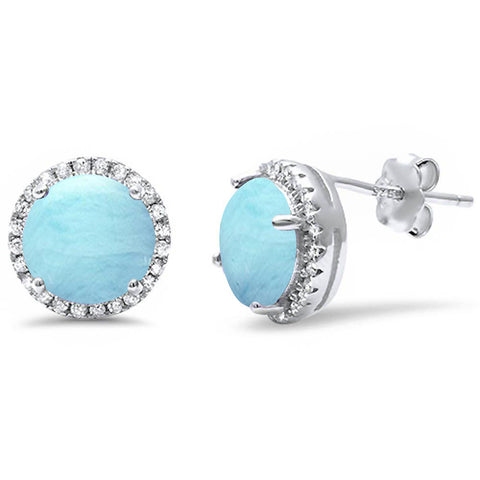 Natural Larimar Halo & Cubic Zirconia Stud .925 Sterling Silver Earrings