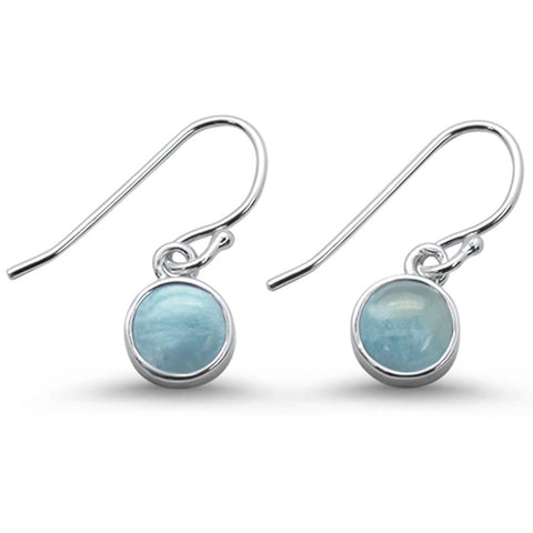 Dangle Style Natural Larimar .925 Sterling Silver Dangle Earrings