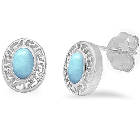 Larimar Oval Stud .925 Sterling Silver Earrings