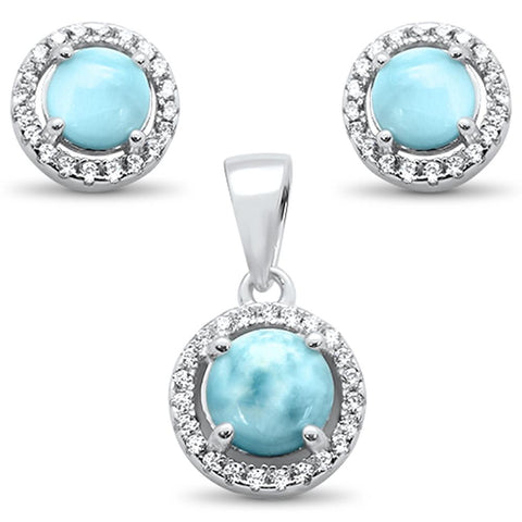 Natural Halo Larimar & Cubic Zirconia Earring & Pendant .925 Sterling Silver Set
