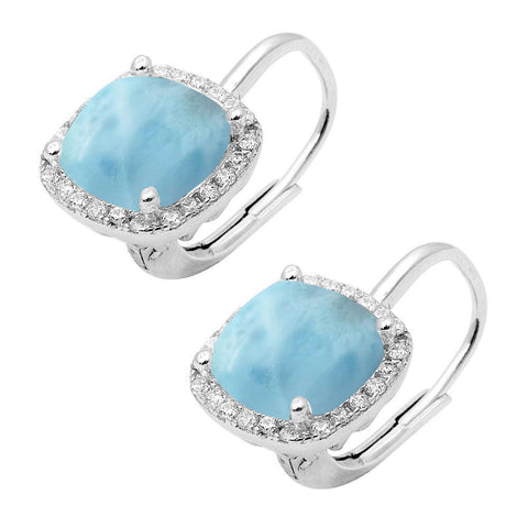 Natural Larimar Cushion Cut .925 Sterling Silver Earrings