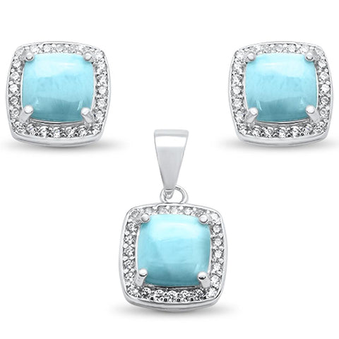 Cushion Cut Natural Larimar & Cz Earring & Pendant .925 Sterling Silver Set