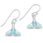 Natural Larimar Whale Tail Dangle .925 Sterling Silver Earrings