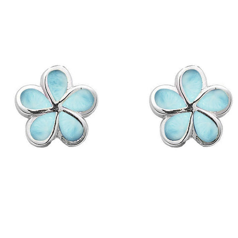 Natural Larimar Flower .925 Sterling Silver Earrings
