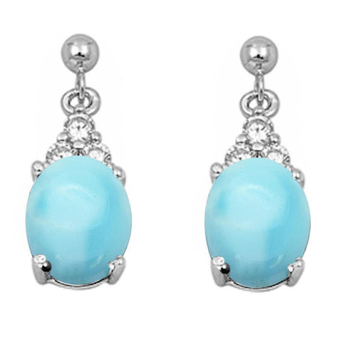 Dangling Oval Natural Larimar & CZ .925 Sterling Silver Earrings