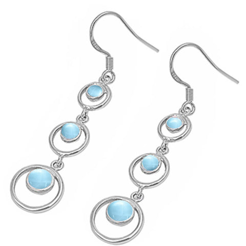Natural Larimar Circles .925 Sterling Silver Earrings