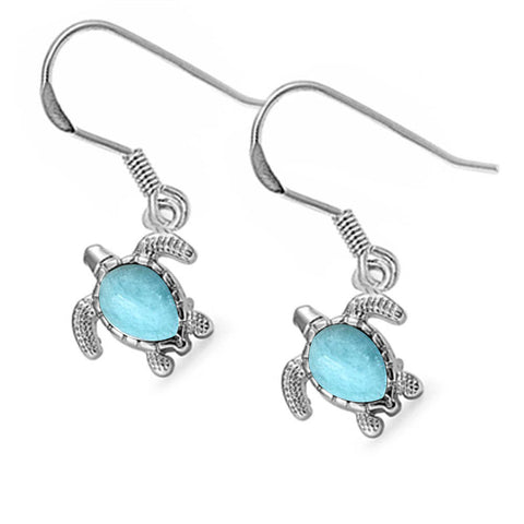 Nice! Natural Larimar Turtle Drop Dangle .925 Sterling Silver Earrings
