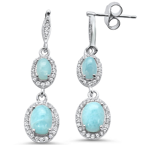 Natural Larimar & Cz .925 Sterling Silver Earrings