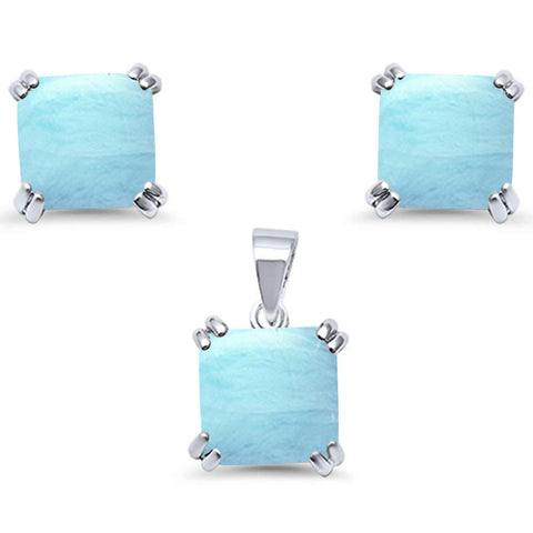 Natural Larimar Cushion Cut  .925 Sterling Silver Earring & Pendant Set