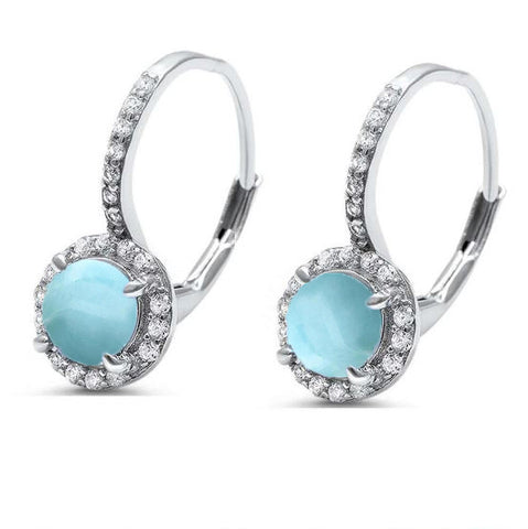 Round Natural Larimar & Cubic Zirconia .925 Sterling Silver Earrings