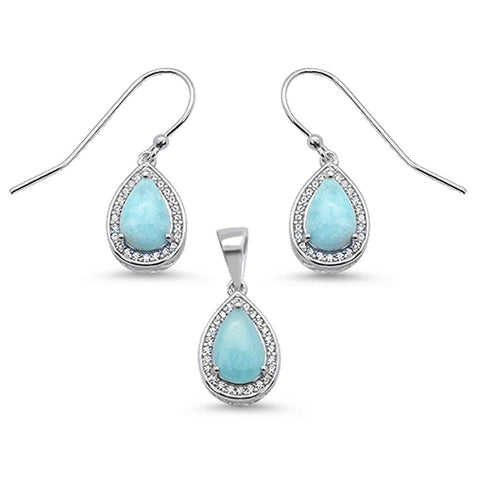 Pear Shape Natural Larimar & Cz Earring & Pendant .925 Sterling Silver Set