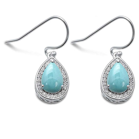 Pear Shape Natural Larimar & Cubic Zirconia .925 Sterling Silver Earrings