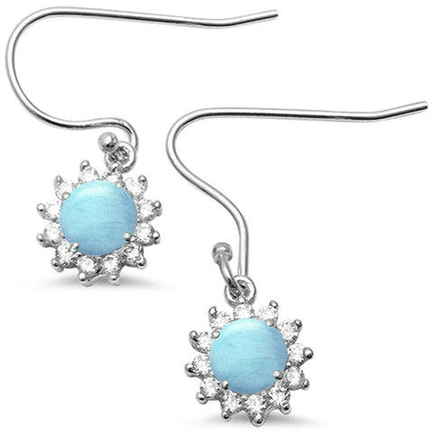 Halo Natural Larimar CZ Drop Dangle .925 Sterling Silver Earrings