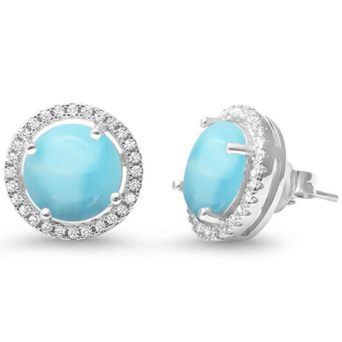 Natural Larimar Halo .925 Sterling Silver Earrings