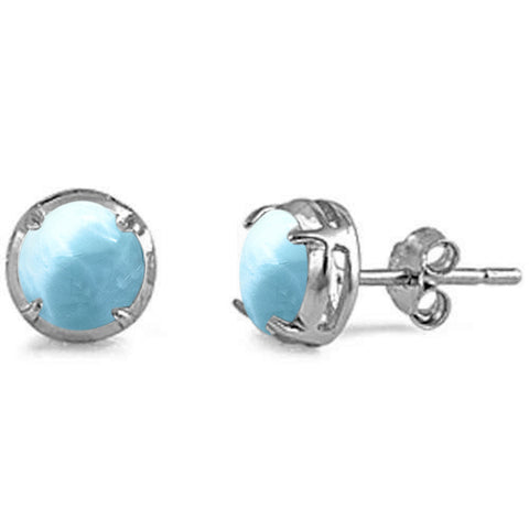 Round Shape Natural Larimar Stud  .925 Sterling Silver Earrings