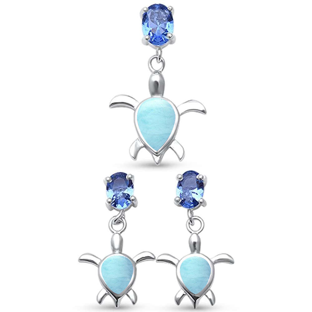 Natural Larimar Turtle & Tanzanite Cubic Zirconia .925 Sterling Silver Earring & Pendant Set
