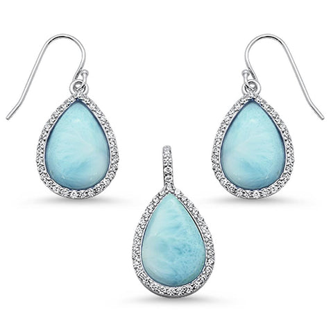 Pear Shape Natural Larimar & Cz Dangle Earring & Pendant .925 Sterling Silver Set