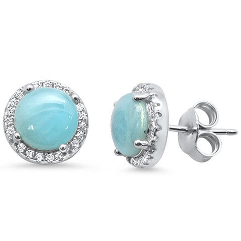 Halo Natural Larimar & Cubic Zirconia .925 Sterling Silver Earrings