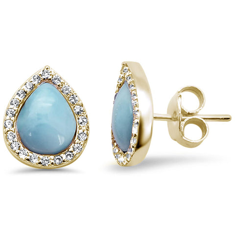 Yellow Gold Plated Pear Halo Tear Drop Natural Larimar .925 Sterling Silver Earrings