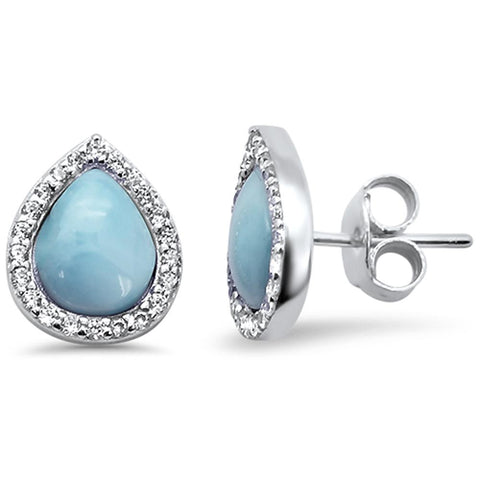 Pear Halo Tear Drop Natural Larimar .925 Sterling Silver Earrings