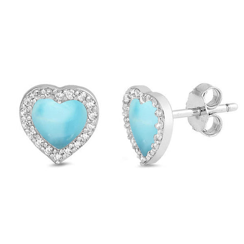 Natural Larimar & Cz Heart Stud .925 Sterling Silver Earrings