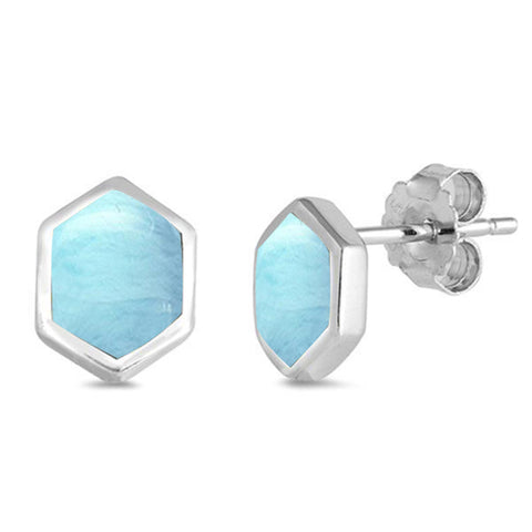 Natural Larimar Hexagon .925 Sterling Silver Earrings