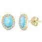 Yellow Gold Plated Natural Larimar r& Cubic Zirconia Oval Stud .925 Sterling Silver Earrings