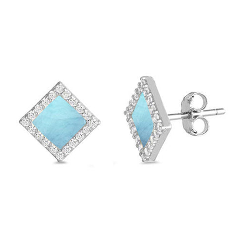 Natural Larimar Diamond Shape Stud .925 Sterling Silver Earrings