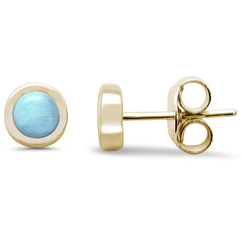 Yellow Gold Plated Round Natural Larimar Stud .925 Sterling Silver Earrings