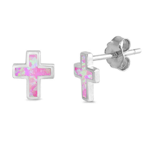 Pink Opal Cross  .925 Sterling Silver Earrings