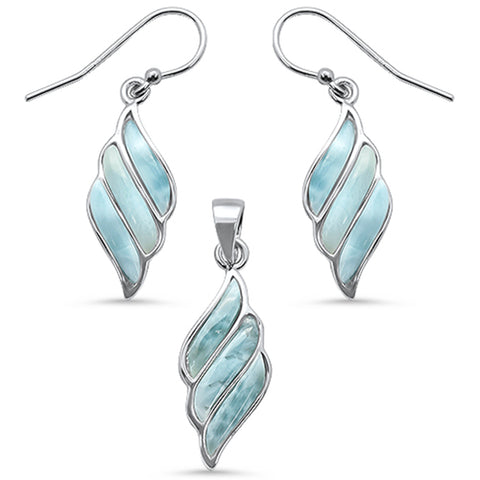 Natural Larimar Swirl Dangling .925 Sterling Silver Earring & Pendant Set