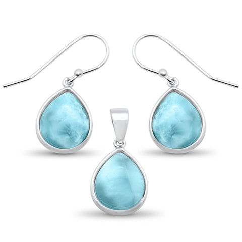 Natural Larimar Pear Shape Dangle Earring & Pendant .925 Sterling Silver Set