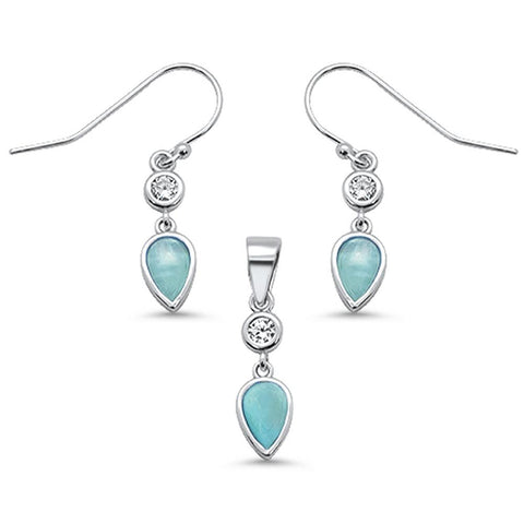 Natural Larimar Teardrop & Cz Dangle Earring & Pendant .925 Sterling Silver Set