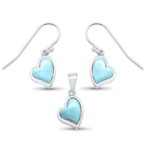 Natural Larimar Heart Shape Dangle Earring & Pendant .925 Sterling Silver Set