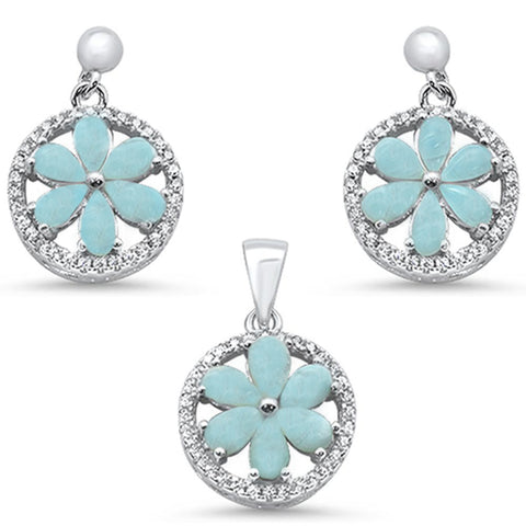 Natural Larimar & Round CZ .925 Sterling Silver Pendant & Earring Set