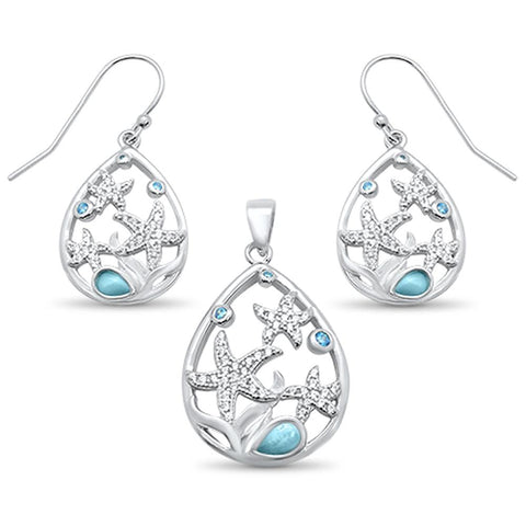 Natural Larimar & Aquamarine Star Cz Drop Pendant & Earring .925 Sterling Silver Set
