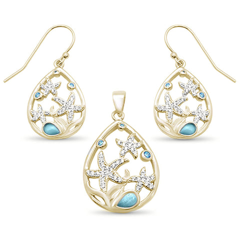 Yellow Gold Plated Natural Larimar & Aquamarine Star Cz Drop Pendant & Earring .925 Sterling Silver Set