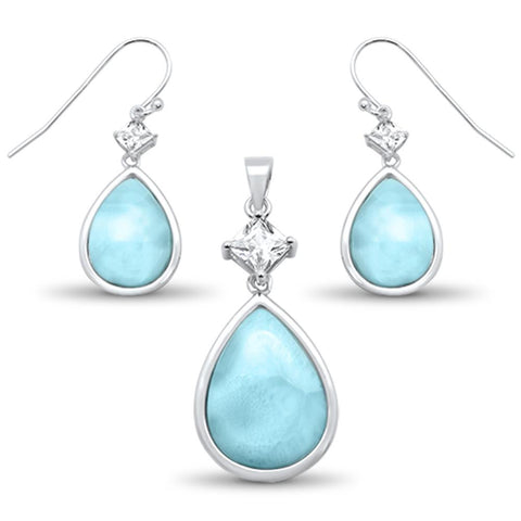 Natural Larimar & Cz Pear Shape Dangle Earring & Pendant .925 Sterling Silver Set