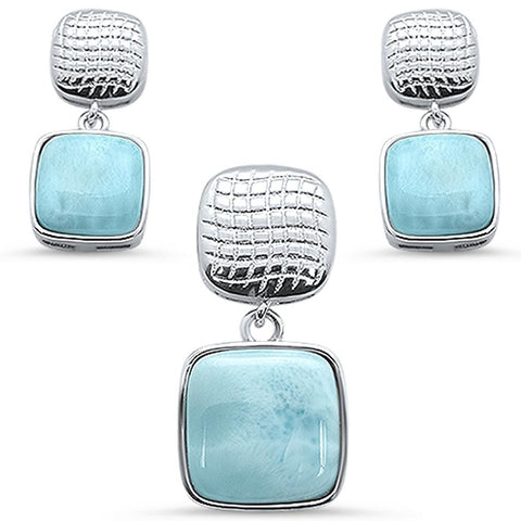 Natural Larimar Princess Cut Top & Bottom Dangle Earring & Pendant .925 Sterling Silver Set