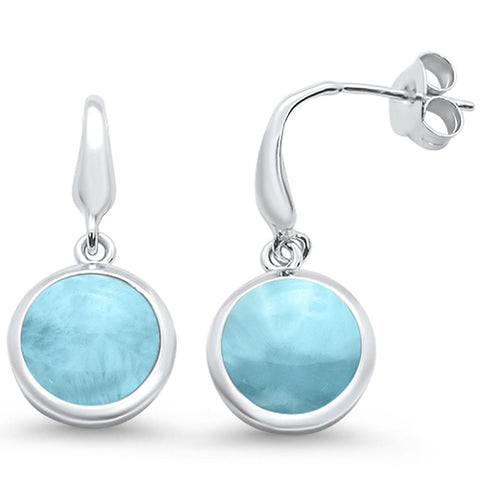 Natural Round Larimar Dangle .925 Sterling Silver Earrings