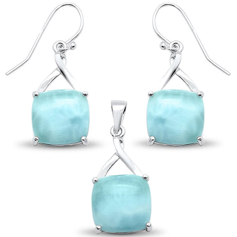 New Natural Larimar Cushion Cut Earring & Pendant .925 Sterling Silver Set